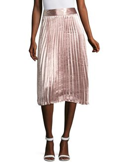 Metallic Pleated A-line Skirt