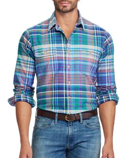 Classic Fit Plaid Cotton Oxford Shirt