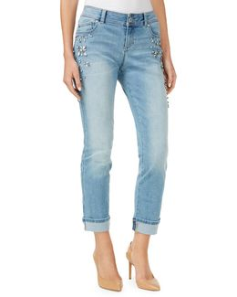 Slim-fit Studded Mid-rise Cuffed Jeans