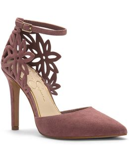 Floral Cut-out Suede Pumps