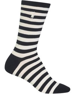 Stripe On Rib Crew Trouser Socks
