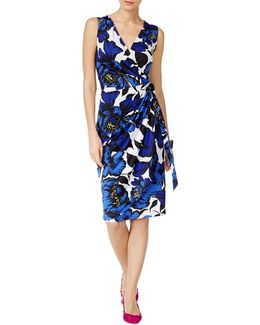 Floral-print Faux Wrap Dress