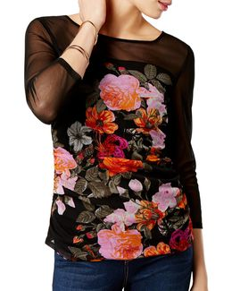 Illusion Neck Floral-print Top