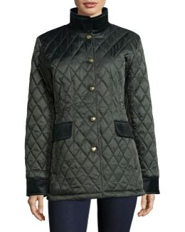 Diamond-quilt Jacket With Velvet Trim