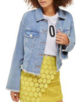 Moto Raw Hem Denim Jacket