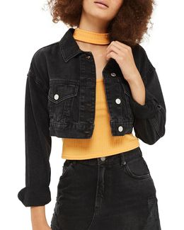 Moto Cropped Denim Jacket
