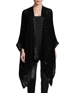 Striped Velvet Silk-blend Poncho