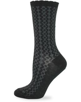 Diamond Pattern Crew Socks