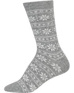 Snowflake Stripe Crew Boot Socks