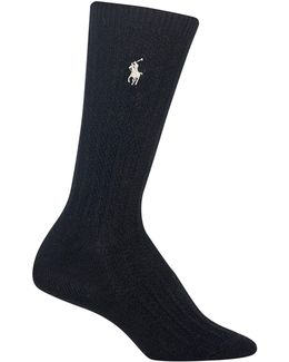 Textured Ribbed Crew Socks