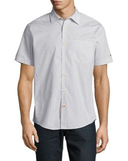 Round Geometric Dot Print Short Sleeve Shirt