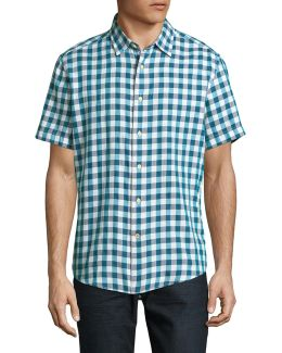 Custom-fit Plaid Short-sleeve Shirt