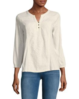 Petite Mixed-stitch Split Neck Blouse