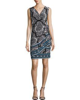 Petite Mandala Sleeveless Wrap Dress