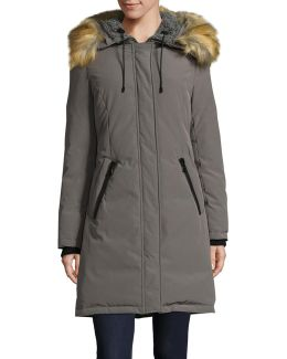 Down Fill Parka With Faux Fur Hood