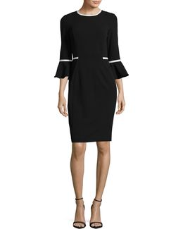 Piped Bell Sleeve Sheath Dress