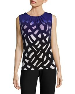 Printed Pleat Neck Tank Top