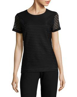 Short Sleeve Illusion Stripe Top