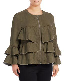 Plus Raw Ruffle Linen Jacket