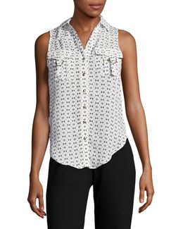 Sleeveless Printed Button-down Top