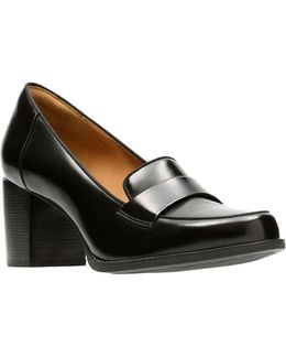 Loafer Style Leather Pumps