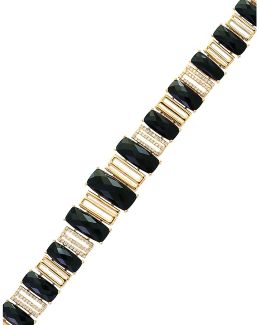 0.55 Tcw Diamond, Onyx And 14k Yellow Gold Tennis Bracelet
