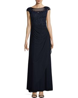 Cap Sleeve Applique Gown