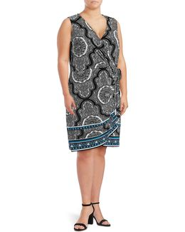 Plus Mandala Sleeveless Wrap Dress