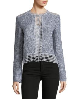 Annabeua Metallic Tweed Open Back Jacket