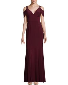 Cold-shoulder Sweetheart Neck Gown
