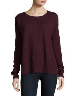 Boxy Wide Rib Cashmere Top
