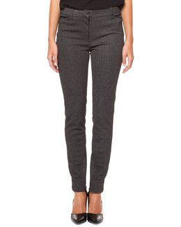 Herringbone Textured Skinny Pants