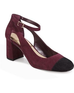 Geri Contrast Suede Mary-janes Shoes