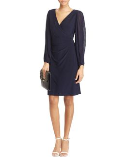 Slim-fit Georgette-sleeve Jersey Dress
