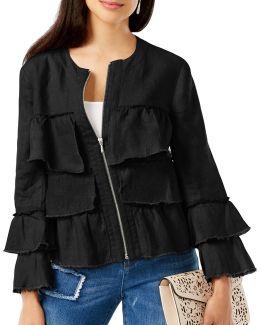 Petite Linen Ruffled Jacket