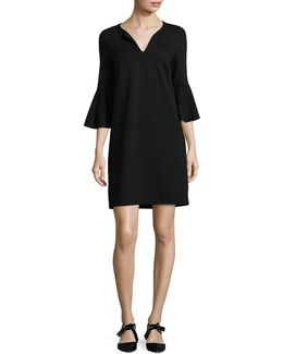 Petite Bell Sleeve Split Neck Shift Dress