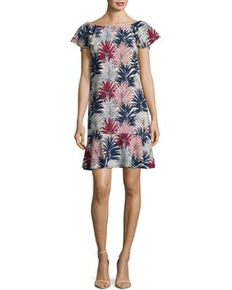 Palm Print Flounce Dress
