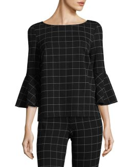 Bell Sleeve Windowpane Top