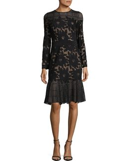 Lace And Neoprene Kick-hem Dress