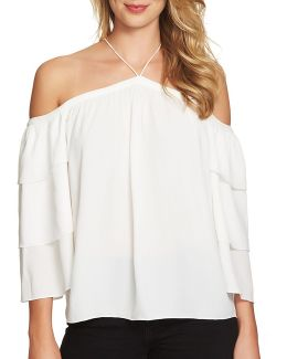 Tiered Sleeve Cold Shoulder Top