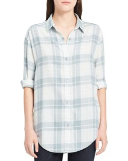 Graphic Shadow Cotton Button-down Shirt