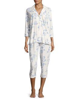 Plus Cotton Notch Collar Capri Pyjama Set Plus