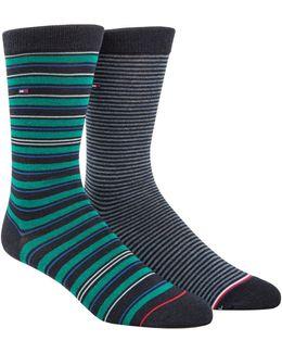Two-pack Multi Stripe Crew Socks Set