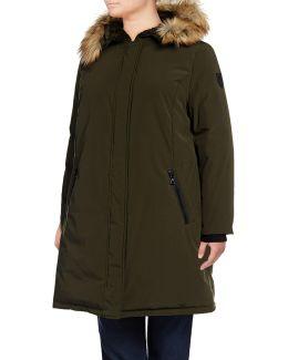 Plus Down Parka With Faux Fur Hood