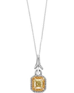 18k White And Yellow Gold Pendant Necklace With 1.79 Tcw Diamonds