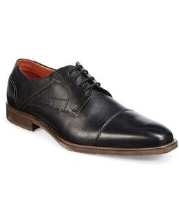 Textured Leather Derby Cap-toe Shoes