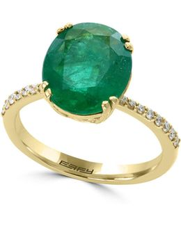 18k Yellow Gold And Emerald Ring With 0.14 Tcw Diamonds