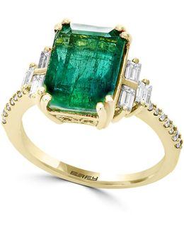 18k Yellow Gold And Emerald Ring With 0.36 Tcw Diamonds