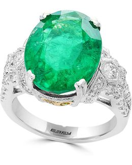 18k White And Yellow Gold Emerald Ring With 0.68 Tcw Diamonds