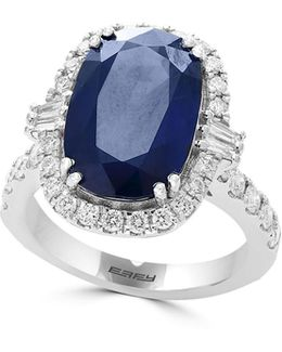 18k White Gold And Sapphire Ring With 0.95 Tcw Diamonds